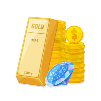 Wealth, savings concept. Gold bullion, a stack of coins and a large diamond. Wealth, savings, treasure concept. Vector illustration