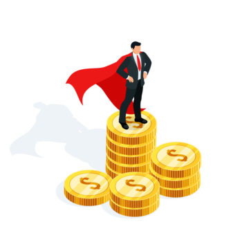 Isometric businessman standing on a stack of money. 3d businessman in the cloak of a superhero stands on a pile of gold coins. Earnings growth concept. Vector illustration.
